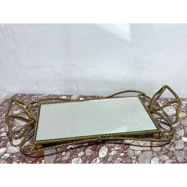 Italian Gilt Rope Motif Plateau or Vanity Tray For Sale - Image 4 of 7