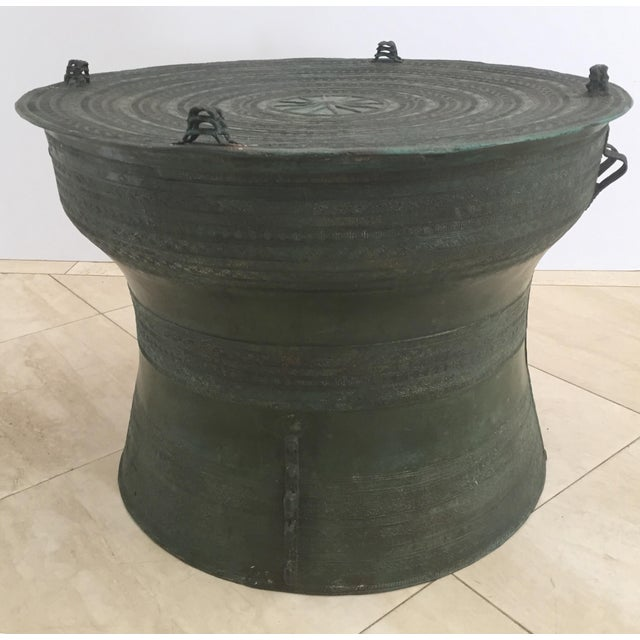 1950s Asian Cast Bronze Rain Drum with Glass Top Coffee Table For Sale - Image 5 of 11