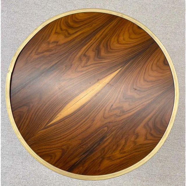 Metal Mid-Century Modern Style End / Lamp Table Ebony Bronze Base and Rosewood For Sale - Image 7 of 13