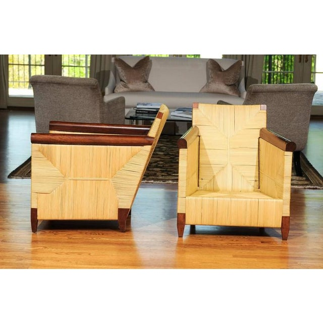 Donghia Superb Pair of Mahogany and Wicker Loungers by John Hutton for Donghia For Sale - Image 4 of 11