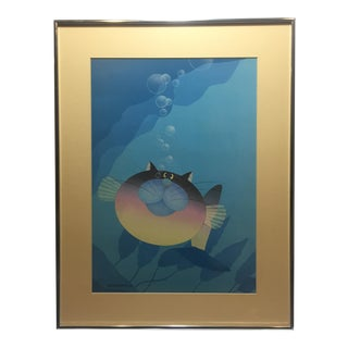 Vintage Stewart Moskowitz Whimsical Cat Fish Framed Artwork Print