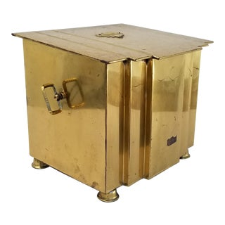 1960s Vintage Metal Brass Trash Can For Sale
