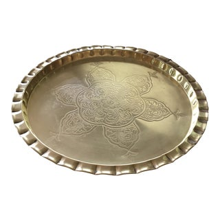 Vintage Round Bohemian Mid-Century Brass Tray For Sale
