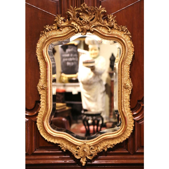 Wood 19th Century French Louis XV Carved Giltwood and Beveled Wall Mirror For Sale - Image 7 of 7