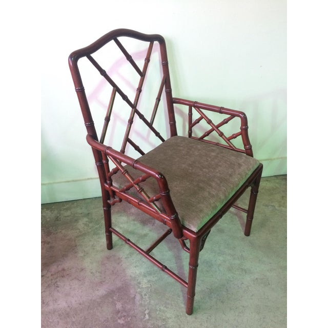1960s Vintage Rosewood Chinese Chippendale Style Faux Bamboo Dining Chairs- Set of 8 For Sale - Image 11 of 13