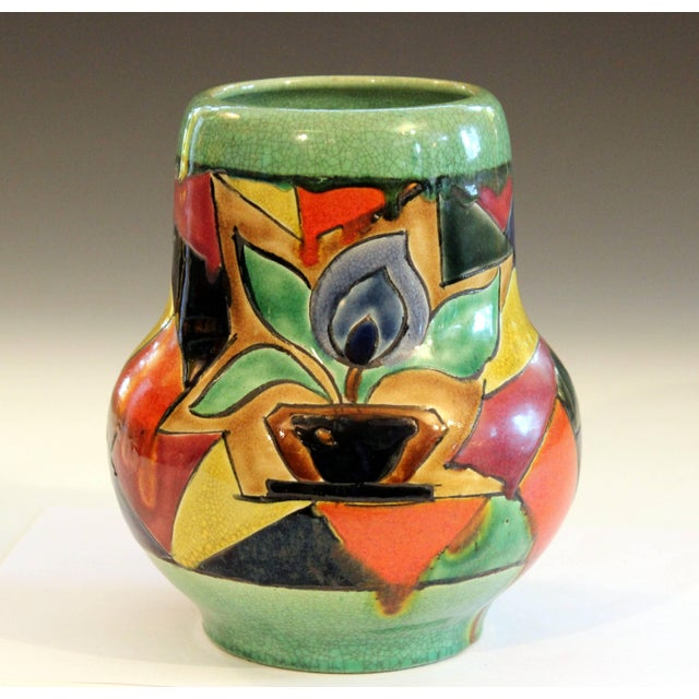 Green Awaji Pottery Art Deco Japanese Mock Cubist Fractured Picture Plane Vase Signed For Sale - Image 8 of 10