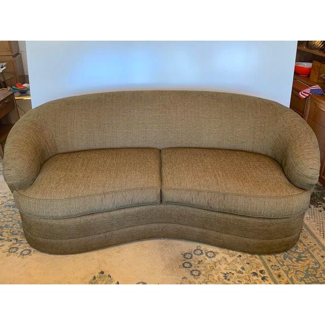 Drexel Heritage Kidney Bean Shape Olive-Green Curved Sofa For Sale - Image 12 of 12