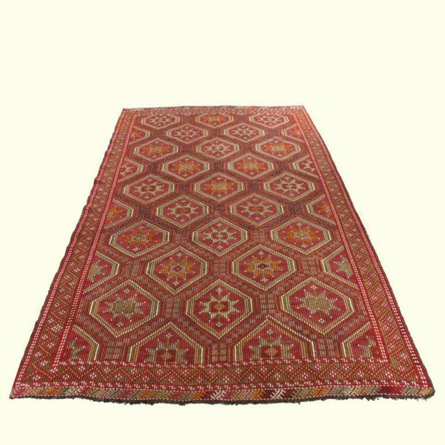 Red Turkish Kilim Flatweave - 6'2'' x 9'11'' - Image 2 of 5