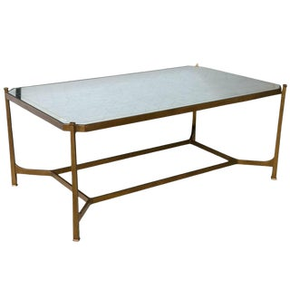 Hollywood Regency Style Gilt Mirrored Coffee Table For Sale