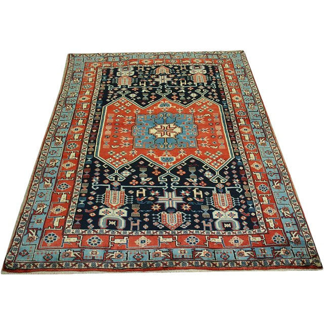 """Primitive & Tribal Persian Ghochan Rug, 4' x 5-9"""" For Sale"""