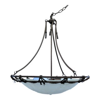 French Directoire Frosted Glass Pendant Light For Sale