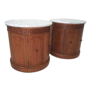 Vintage Thomasville Greek Key Drum Tables - a Pair For Sale
