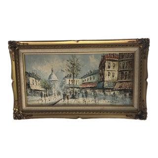 Mid 20th Century Parisian Street Scene Oil Painting, Framed For Sale