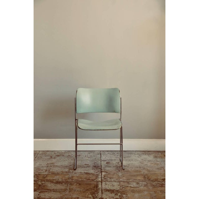 Chrome Set of Six Teal and Chrome David Rowland 40/4 Stacking Chairs For Sale - Image 7 of 7