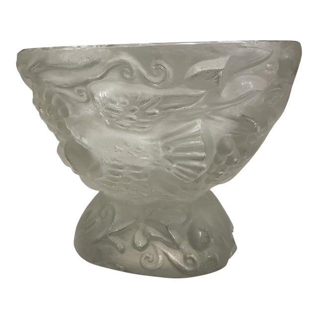 Mid 20th Century Carved Glass Vase For Sale