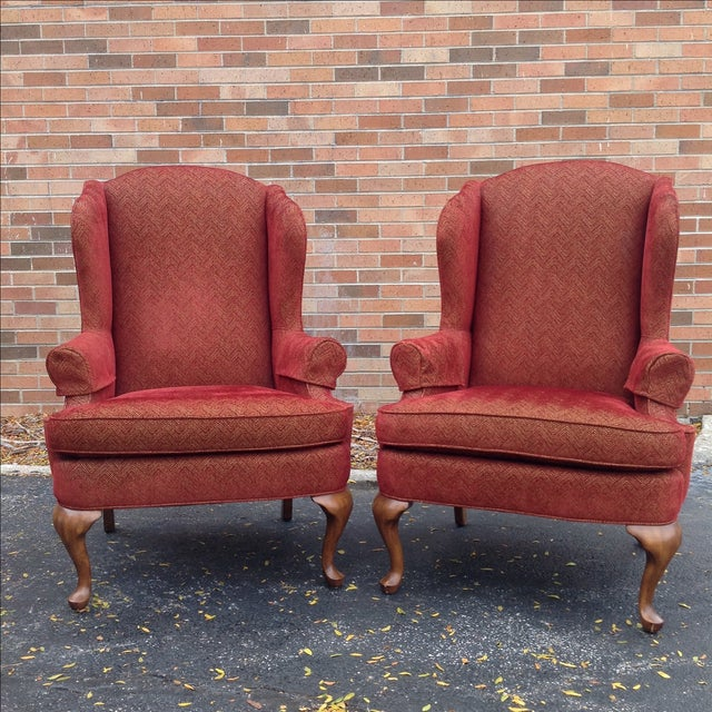 Walter E. Smithe Wingback Chairs - Pair For Sale - Image 4 of 10