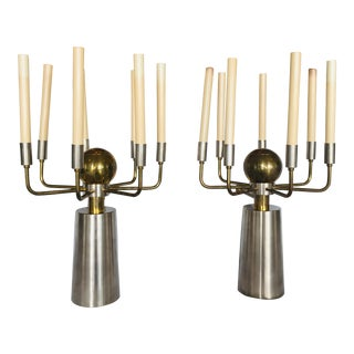 Brass and Chrome French Two-Tone Sconces- a Pair For Sale