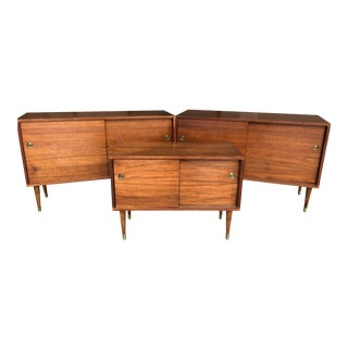Mid Century Modern Danish Modern Teak Sliding Door Sideboard Buffet Storage Cabinets - Set of 3