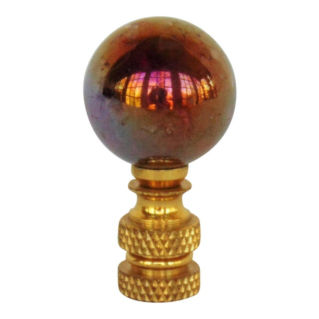 Purple Iridescent Glass Ball Lamp Finial - Image 1 of 3