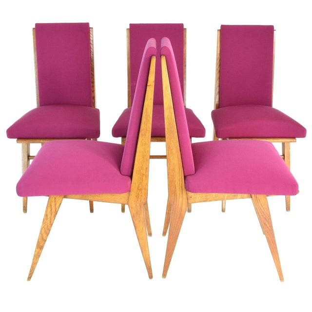 French Art Deco Dining Chairs, Set of Five, 1940s For Sale - Image 12 of 12