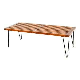 Mid Century Nelson Style Walnut Slat Bench For Sale