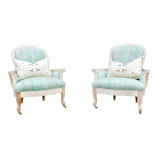 Blockprint Bergere Bleached Chairs - a Pair For Sale