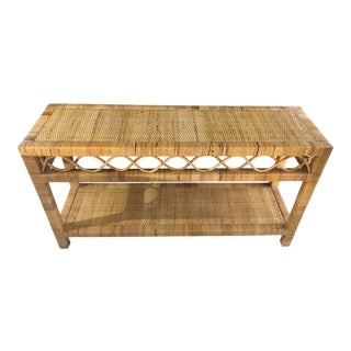 Woven Rattan/Wicker Wrapped Boho Chic Entrance Table For Sale