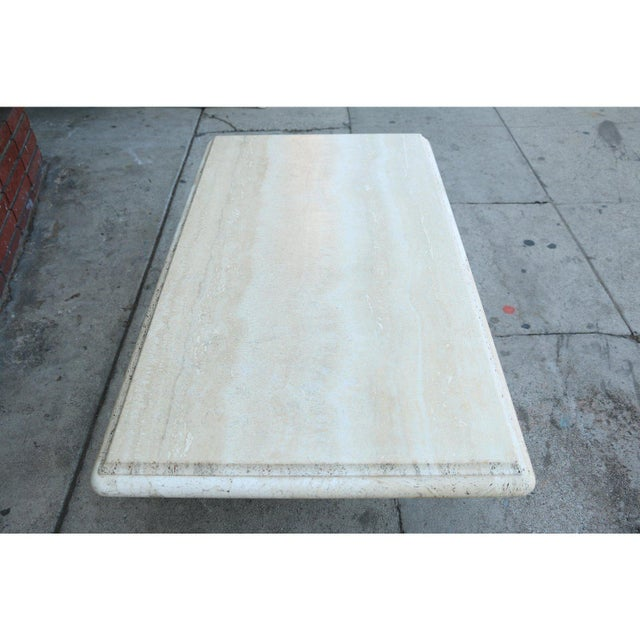 Vintage Mid Century Travertine Coffee Table For Sale In New York - Image 6 of 9