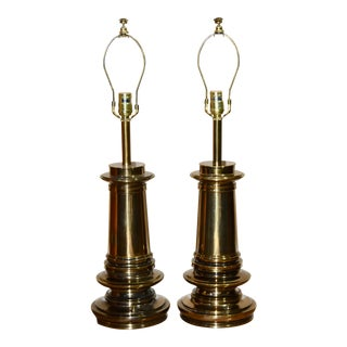 1960s Stiffel Hollywood Regency 3 Way Brass Urn Table Lamps - a Pair For Sale