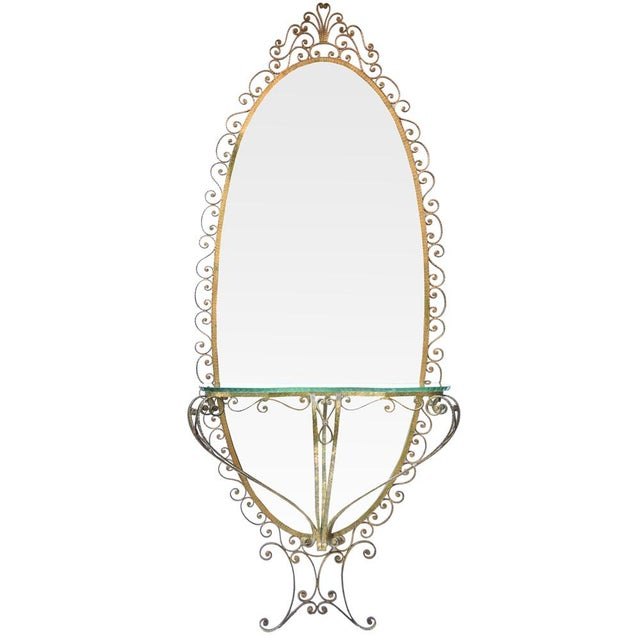 Glass Eugenio Colli Wrought Iron Oval Mirror For Sale - Image 7 of 7