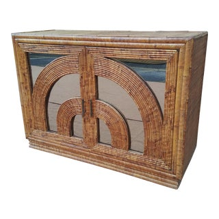 1970's Italian Tropicalist Brass, Bamboo, Woven Grasscloth and Mirrored Cabinet by Vivai Del Sud For Sale