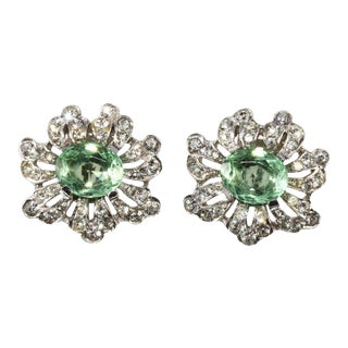 Trifari Empress Eugenie Pastel Green and Clear Rhinestone Earrings For Sale