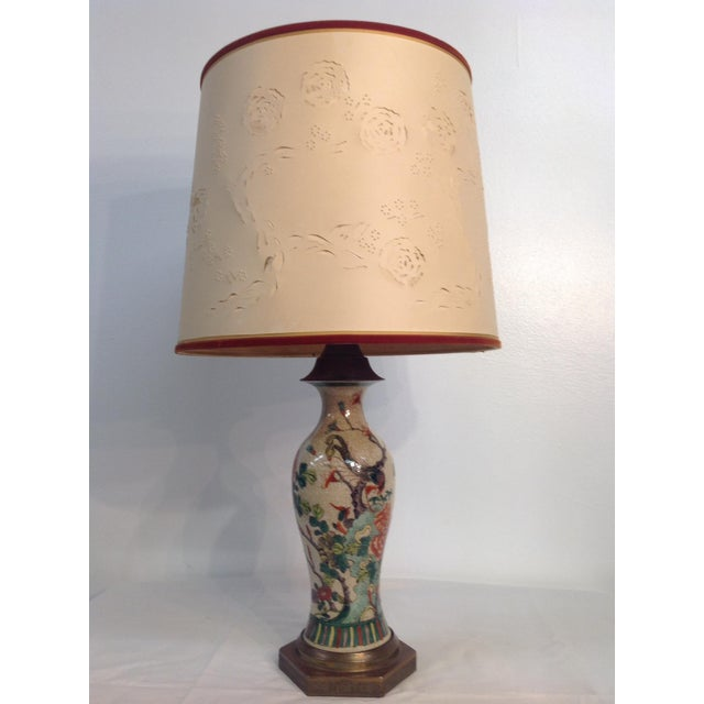 Antique Porcelain Asian Style Table Lamp - Image 2 of 9