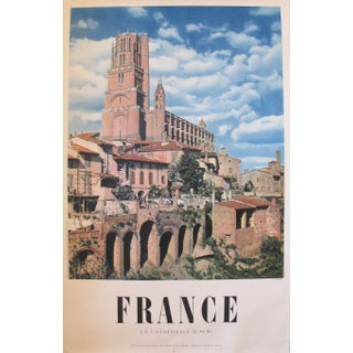 1950s Vintage French Travel Poster, Albi Cathedral For Sale