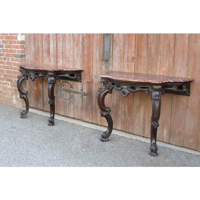 Anglo-Indian Ebonized Anglo Indian Console Table, Pair For Sale - Image 3 of 10