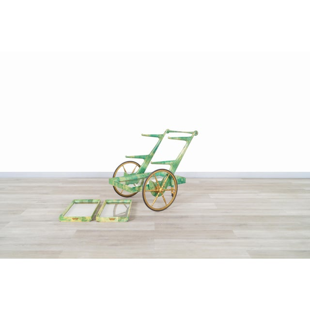Metal Italian Modernist Goatskin Bar Cart by Aldo Tura For Sale - Image 7 of 11