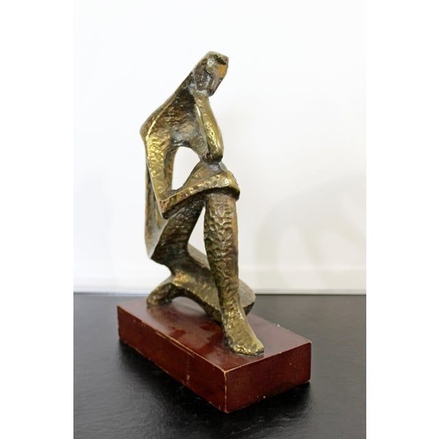 Bronze Mid Century Modern Bronze Table Sculpture of Curved Brutalist Figure For Sale - Image 8 of 9