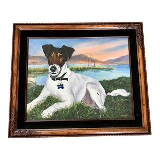 Vintage Terrier Framed Dog Painting For Sale