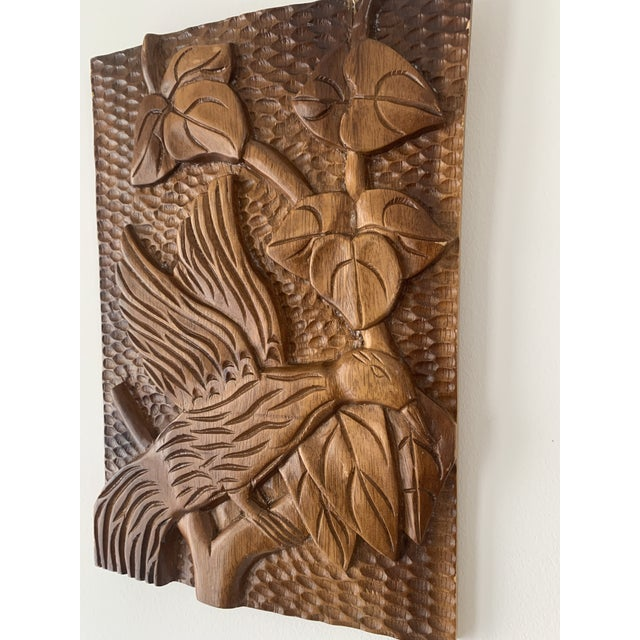 Mid 20th Century Mid Century Phillipine Hand Carved Wood Wall Plaque For Sale - Image 5 of 9