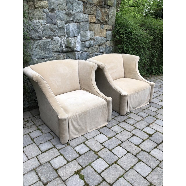 Modern Upholstered Lounge Chairs- A Pair For Sale - Image 10 of 12