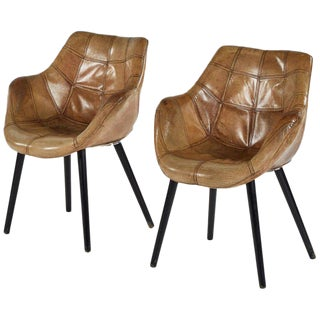 Leather Upholstered Armchairs - a Pair For Sale