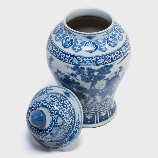 Blue and White Ginger Jar With Landscape Portraits For Sale In Chicago - Image 6 of 7