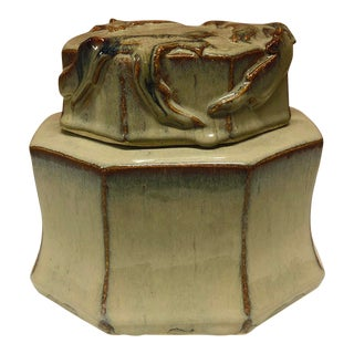 Gorgeous Glazed Octagonal Studio Pottery Covered Vessel, Signed Pinion For Sale