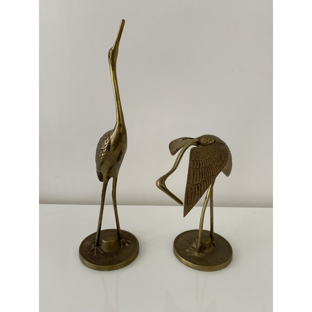 Pair of Small brass Bird figurines, vintage brass Heron or Crane. Great for Hollywood Regency, boho chic, or Mid Century...