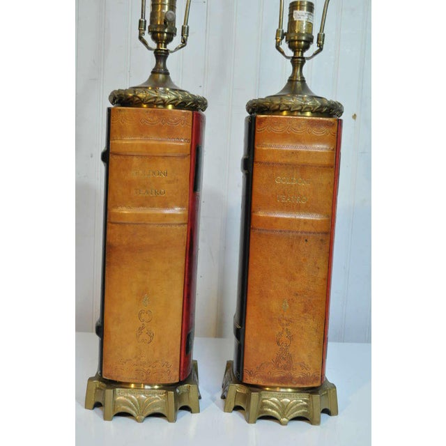 Vintage English Style Brass and Tooled Leather Bound Book Form Table Lamps - a Pair For Sale - Image 4 of 11