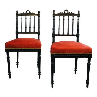 Pair of Carved Victorian Side Chairs For Sale