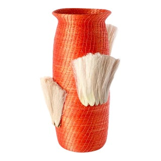 Fanned Out Small Tall Vase Tangerine & Flax Fans For Sale