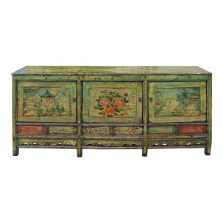 Chinese Distressed Light Green Long Sideboard Console Table Cabinet