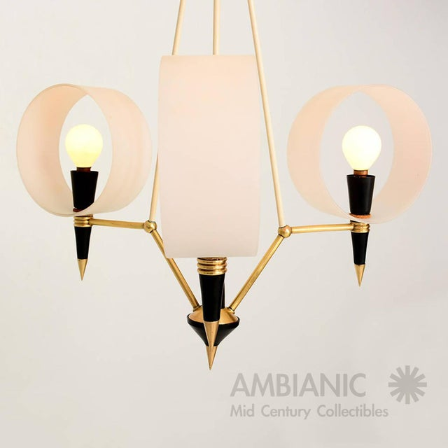 Gold Mid-Century Modern Italian Chandelier With Three Arms For Sale - Image 8 of 10