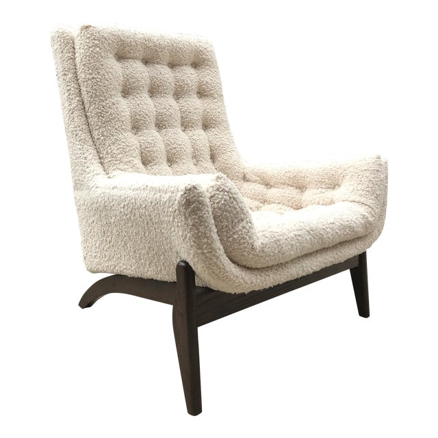Adrian Pearsell for Basset Mid-Century-Modern Lounge Chair Tufted Faux Fur Shearling For Sale